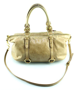 Miu Miu Beige Calf Leather Zipped Shoulder Bag With Long Strap GH