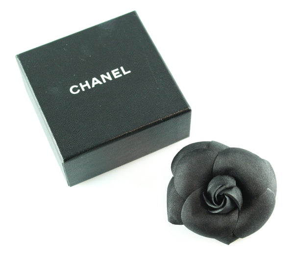 Chanel Black Satin Camelia Brooch (Boxed)