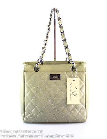 Chanel Quilted Ombre Patent Caviar Leather Diamond Shine Tote