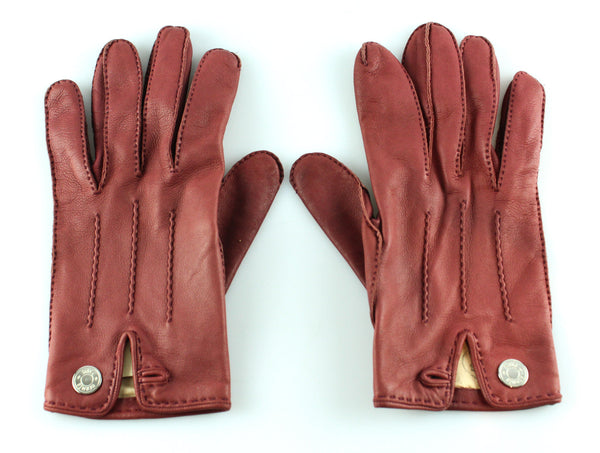 Hermes Clou De Selle Rouge Chili Leather Gloves 7.5
