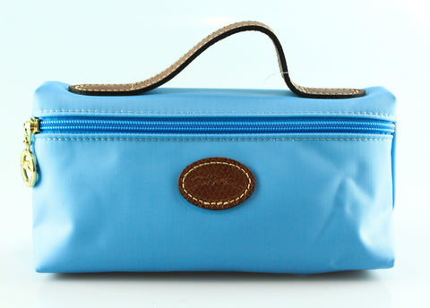 Longchamp Blue Nylon Top Handle Pochette/Make Up Bag