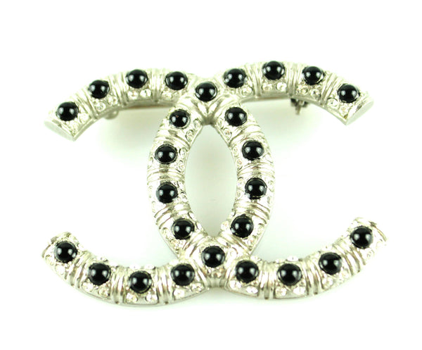 Chanel 2008 Black Bead And Strass CC Brooch
