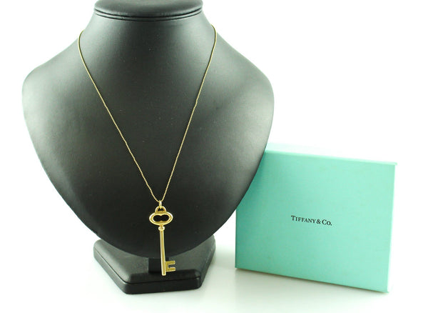 Tiffany & Co. 18K Gold Key Pendant And Gold Beaded Chain RRP €1400