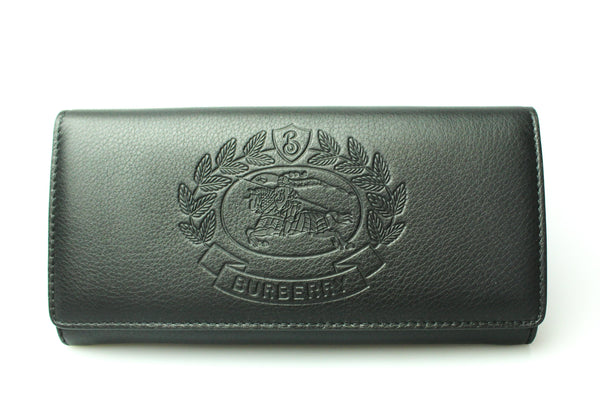 Burberry Logo Crest Embossed Long Flap Wallet