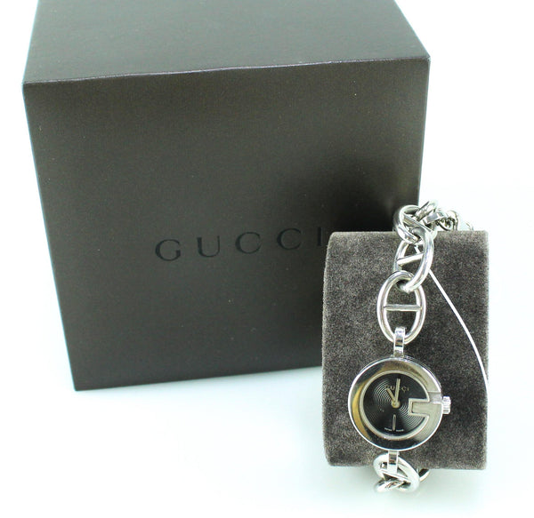 Gucci Black Dial Stainless Steel Charm Bracelet Silvertone Watch