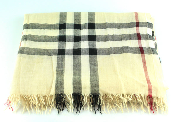 Burberry Silk/Wool Heritage Check Large Scarf