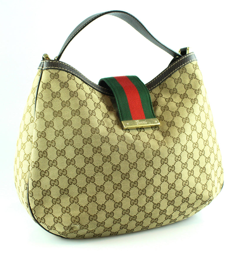 Gucci GG Web Canvas Flap Over Hobo