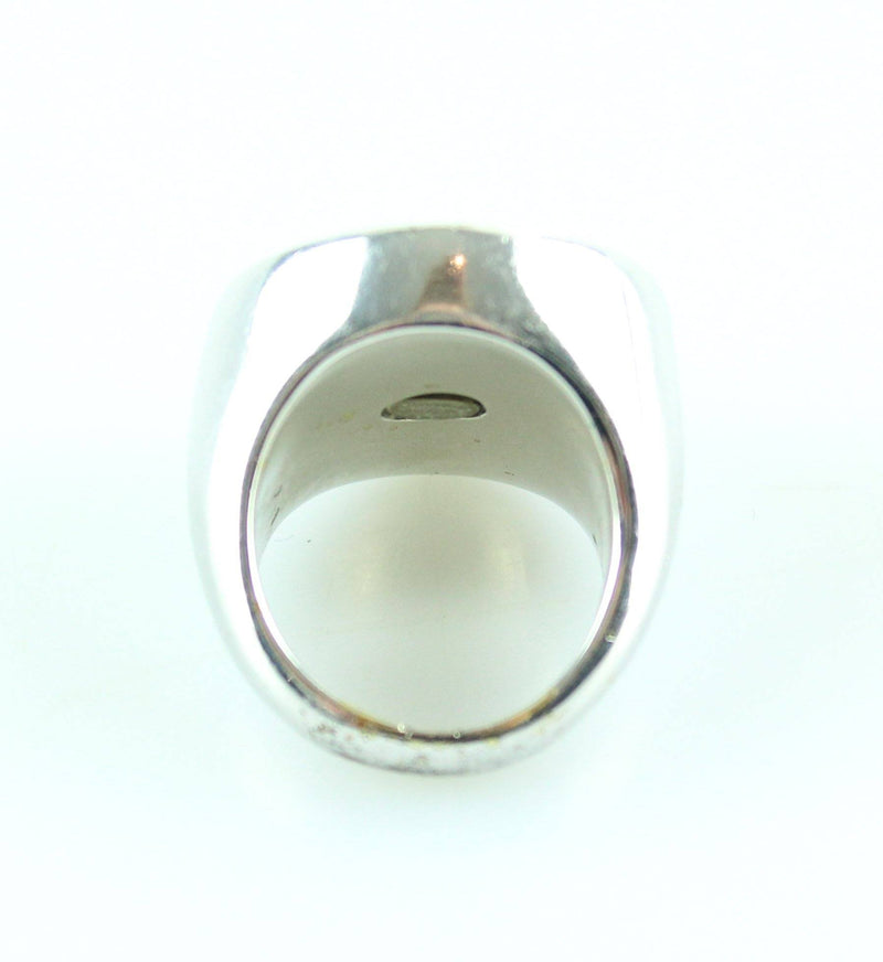 Chanel 2008 Signet Silver Tone Metal Ring SH