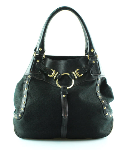 DKNY Black Monogram Canvas And Leather Studded Tote