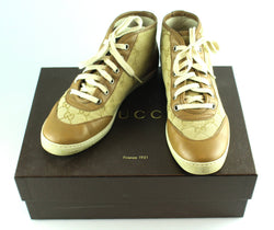 Gucci Classic Canvas High Top Sneakers Camel EUR 35.5 UK 2.5 (Large Fit Up To Size 4)