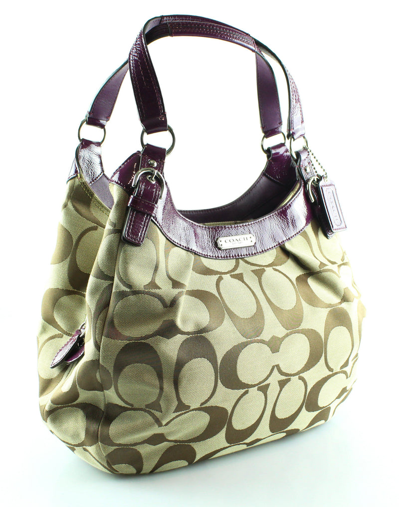 Coach Signature Soho Cnvas And Purple Patent Leather Hobo