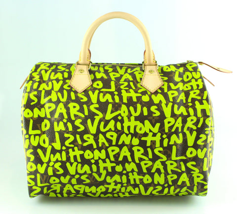 Louis Vuitton Monogram Graffiti Speedy 30 Green TH5008