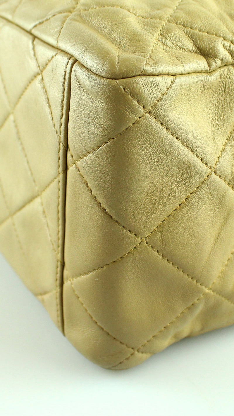 Chanel Vintage Beige Lambskin Maxi Single Flap 1994/96 GH