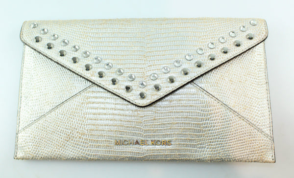 Michael Kors Jet Set Jewelled Travel Envelope Clutch Silver Faux Snake
