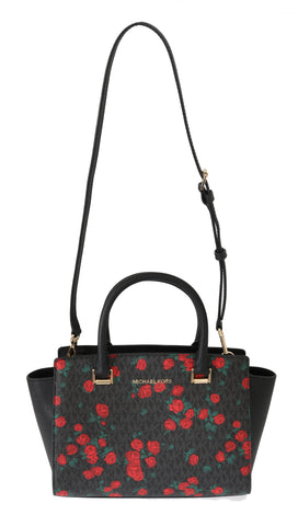 Michael Kors Black/Red Selma Floral Messenger Bag