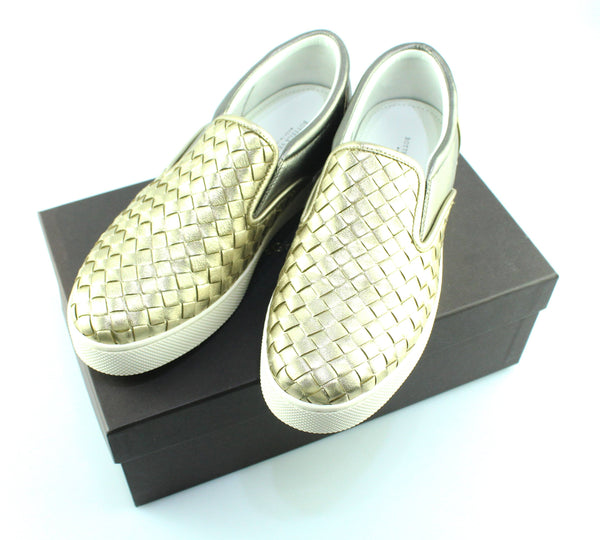 Bottega Veneta Gold/Pewter Leather Slip On Sneakers EUR 38 UK 5