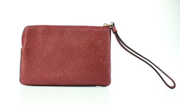 Coach Corner Zip Wristlet In Metallic Cherry
