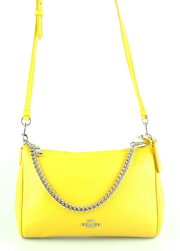 Coach Yellow Pebbled Leather Carrie Cross Body