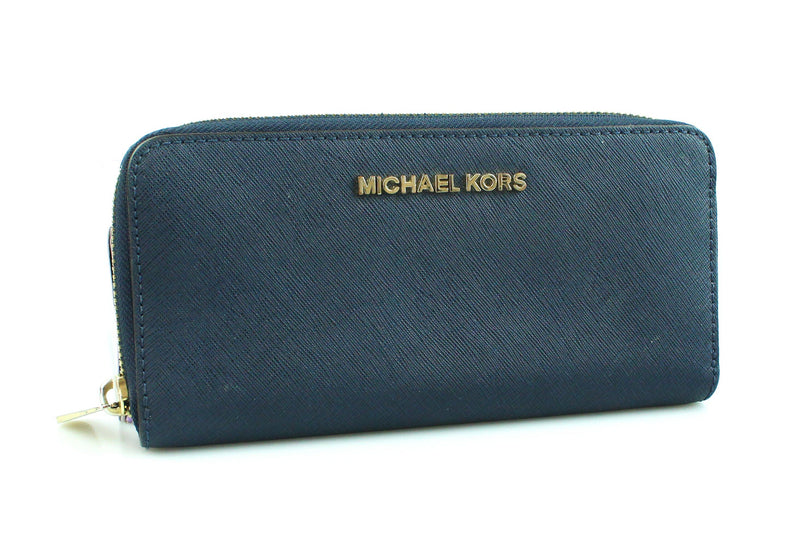 Michael Kors Navy Textured Leather Long Zip Wallet
