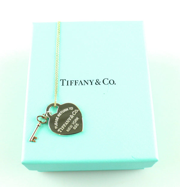 Tiffany & Co. RTT Heart Key Pendant Silver Rubedo Metal Medium RRP €290