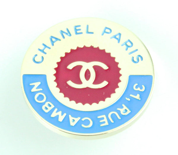 Chanel 2017 Rue Cambon Blue/Red Metal Pin/Brooch