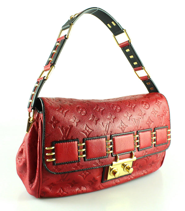 Louis Vuitton Red Monogram Empreinte Leather Maidia Rubel Bag FO3009