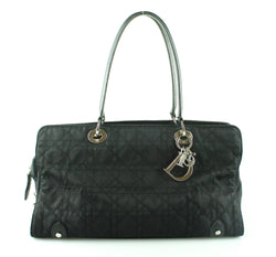 Christian Dior Nylon Cannage Stitch Black Tote
