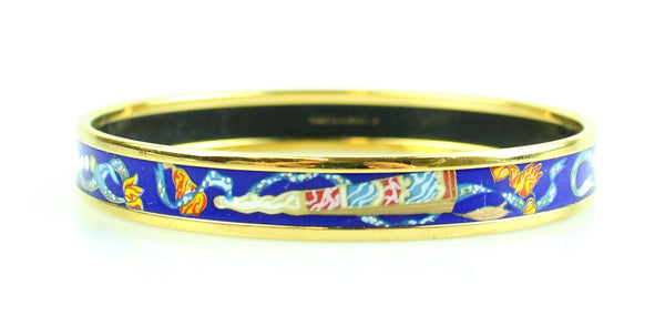 Hermes Med Caleche Bangle Gold With Blue Pearl Design