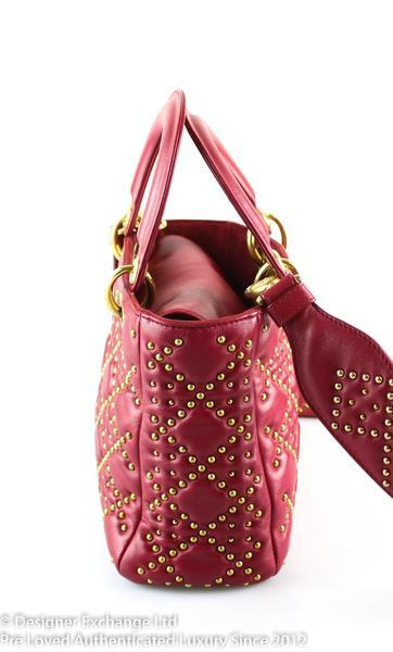 Christian Dior Lady Dior Supple Lambskin Mini Rouge Studded