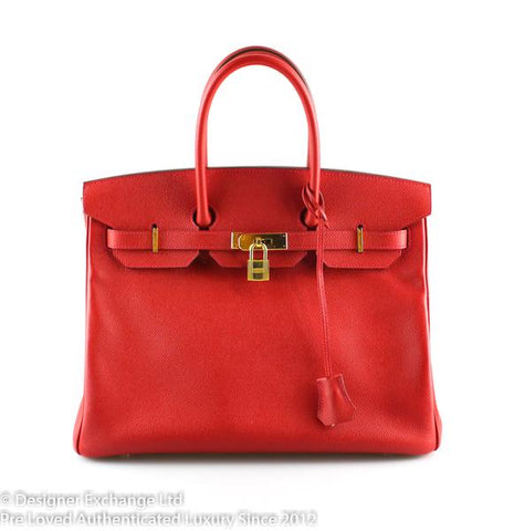 Hermès Rouge Casaque Epsom Leather Birkin 35 GH Boxed