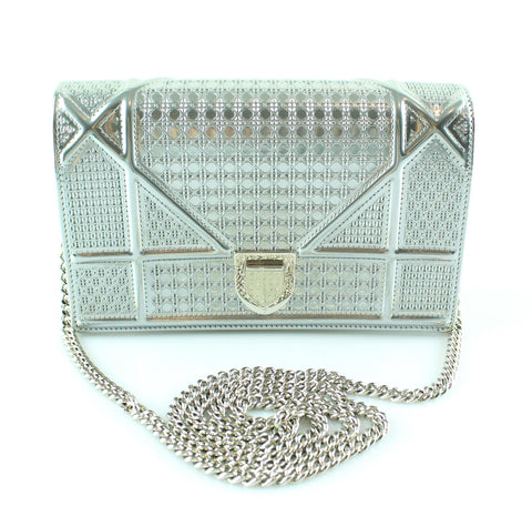 37d7b53c7561 Christian Dior Metallic Silver Perforated Leather Diorama Wallet on Chain  Bag