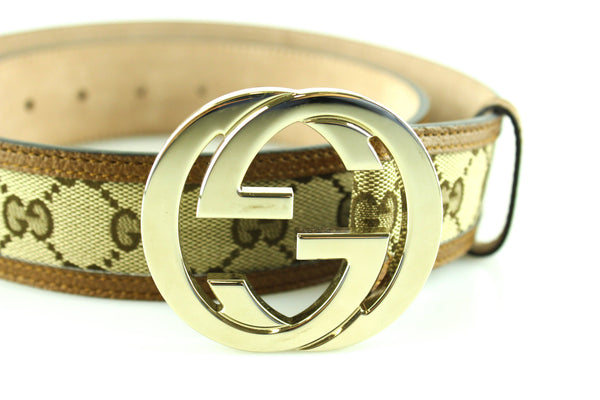 Gucci GG Belt Large Gold Buckle Light Brown Leather Trim 85/34