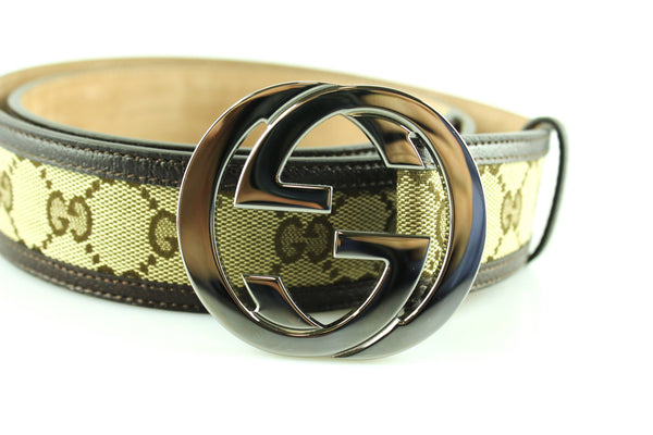 Gucci GG Belt Large Silver Buckle Dark Brown Leather Trim 95/38