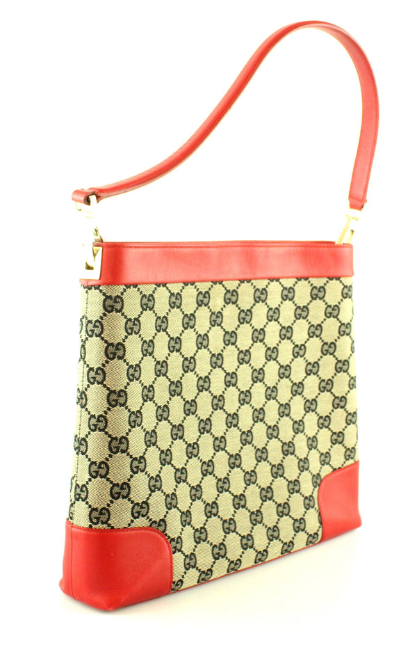 Gucci Vintage GG Canvas Tote With Red Leather Trim
