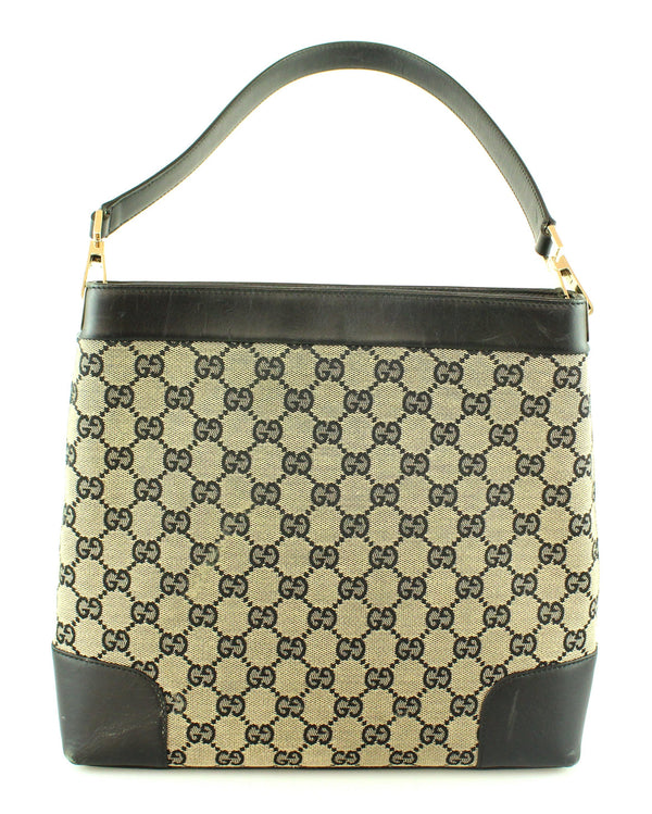 Gucci Vintage GG Canvas Tote With Black Leather Trim