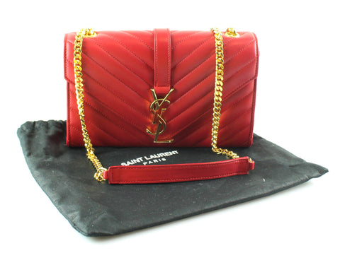 Saint Laurent Chevron Red Mono Small Lambskin Chain GH RRP €1890
