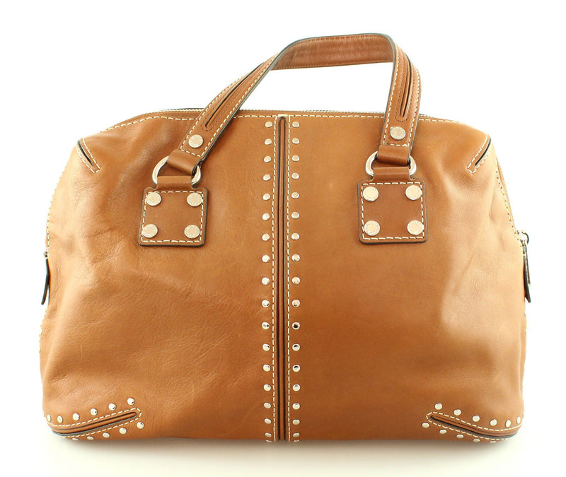 Michael Kors Brown Leather Silver Rivet Top Handle Bag