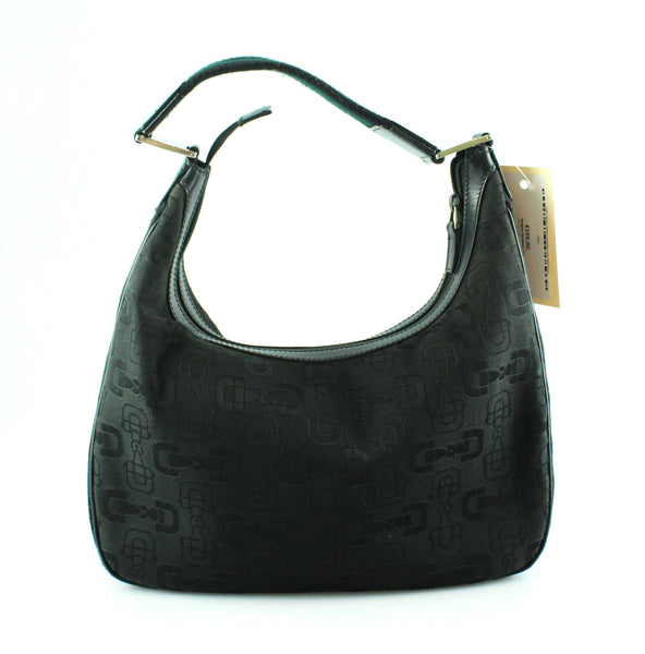 Gucci Black Canvas Horsebit Hobo Web Strap