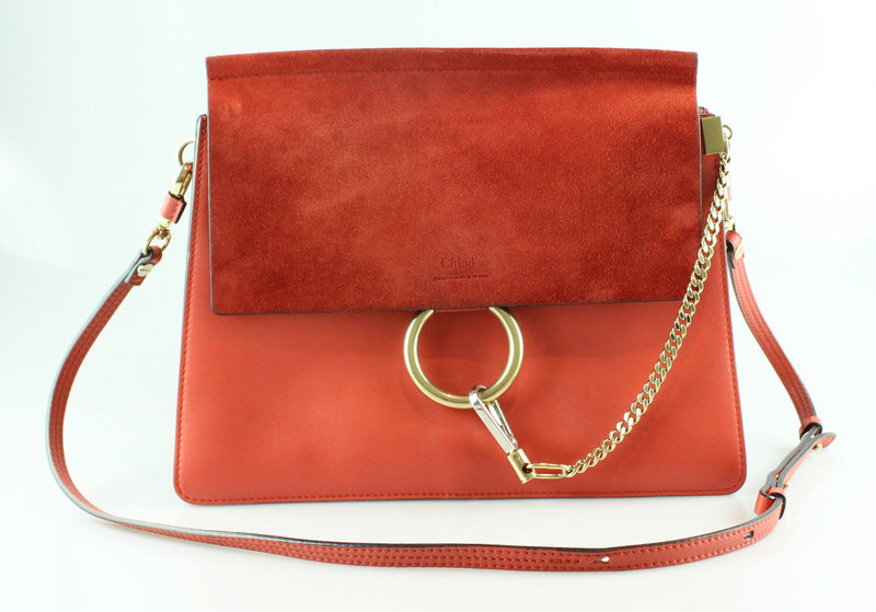 Chloe Deep Salmon Smooth Leather/Burnt Orange Suede Medium Faye RRP €1650