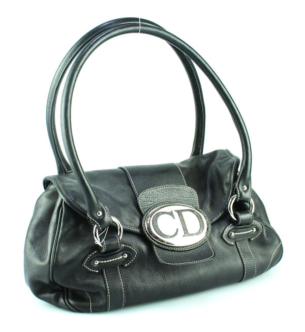 Christian Dior Logo Black Shoulder Bag