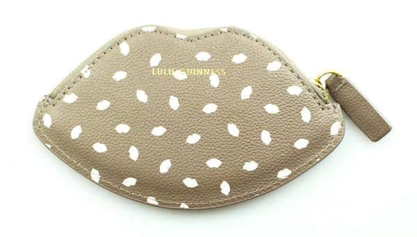 Lulu Guinness White/Taupe Lips Coin Purse
