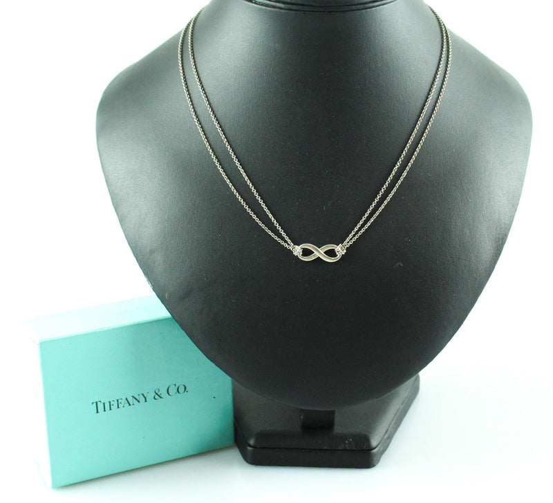 Tiffany Sterling Silver Infinity Pendant On Chain Double Strand
