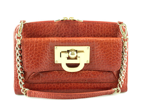 DKNY Rust Grained Leather Mini Chain Bag GH