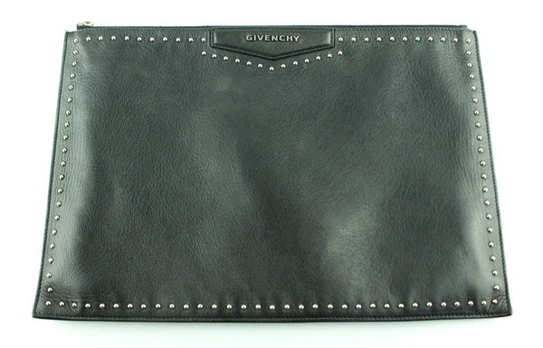 Givenchy Black Leather Studded Oversize Clutch