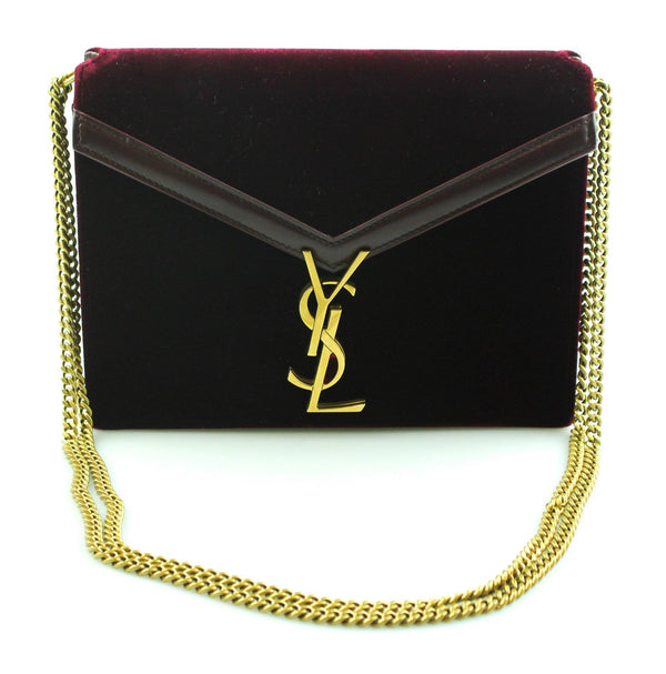 Saint Laurent Medium Velvet Cassandra Burgundy Chain Bag