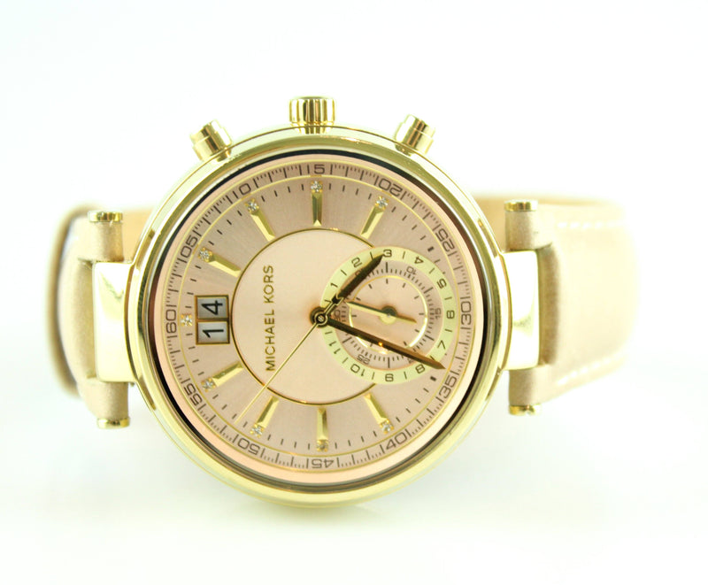 Michael Kors MK2529 Sawyer Watch Beige Leather Strap