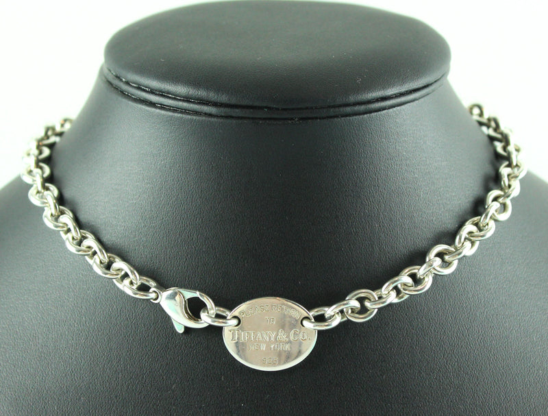 Tiffany & Co RTT Oval Pendant Sterling Silver Choker 38cm