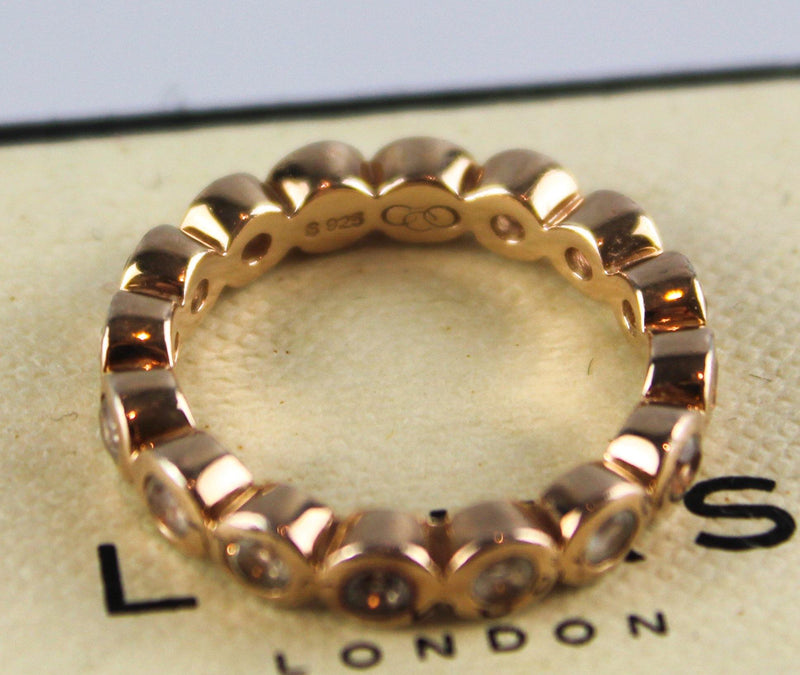 Links Of London Rose Gold Ring With Diamante Sterling Silver S
