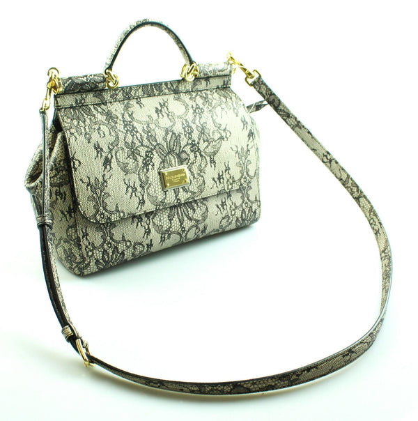 Dolce And Gabbana Miss Sicily Black And Beige Lace Satchel