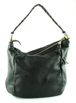 Gucci Black Leather Bamboo Handle Hobo